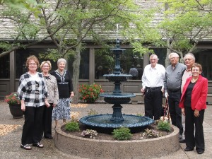 Weyerhaeuser Museum - 40th anniversary - August 2015 - Fountain re-dedication - MCHS board members Irene Becker, Pat Quinn, Camille Warzecha, Stan Wielinski, Duane Welle, Lee Obermiller and Cathy Adamek