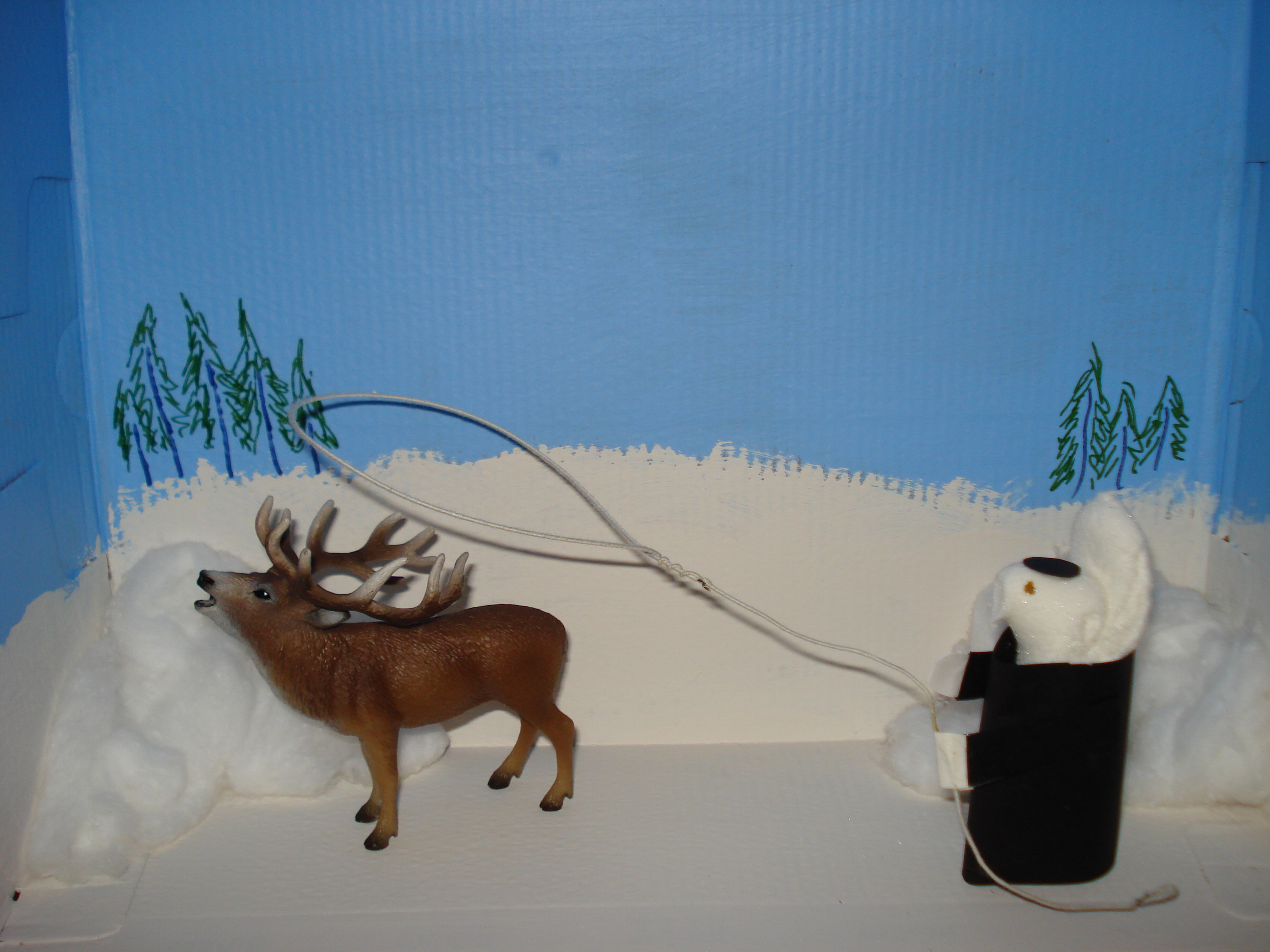 Sample Peep diorama: Father Pierz Trying to Capture an Elk
