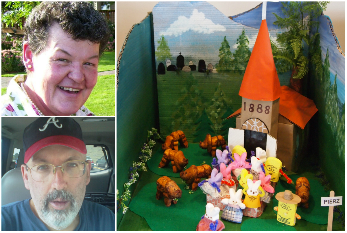 """1st prize winner in MCHS Peep Contest - Marlys Sebasky and Larry Royston for their diorama """"Peepalo go to Church and Mama said """"Bison."""" April/May 2016."""