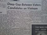 """Deep Gap Between Voters, Candidates on Vietnam"" - Headline from Little Falls Daily Transcript, September 4 1968"