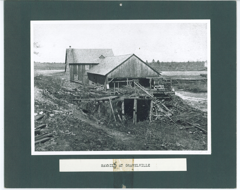 The sawmill at Gravelville appears to have a severe case of rotted wood in this photo, MCHS collections #0000.000.329.