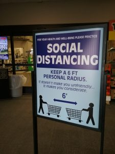 Social distancing sign at Coborn's grocery store in Little Falls, MN, April 15, 2020.