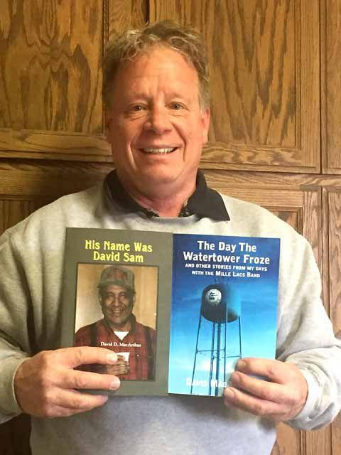 "David MacArthur, author of ""His Name was David Sam"" and ""The Day the Watertower Froze"", photo source: https://www.messagemedia.co/aitkin/community/features/books-reflect-life-on-the-reservation/article_a157697a-6656-11e7-9090-d7df2c515e37.html"