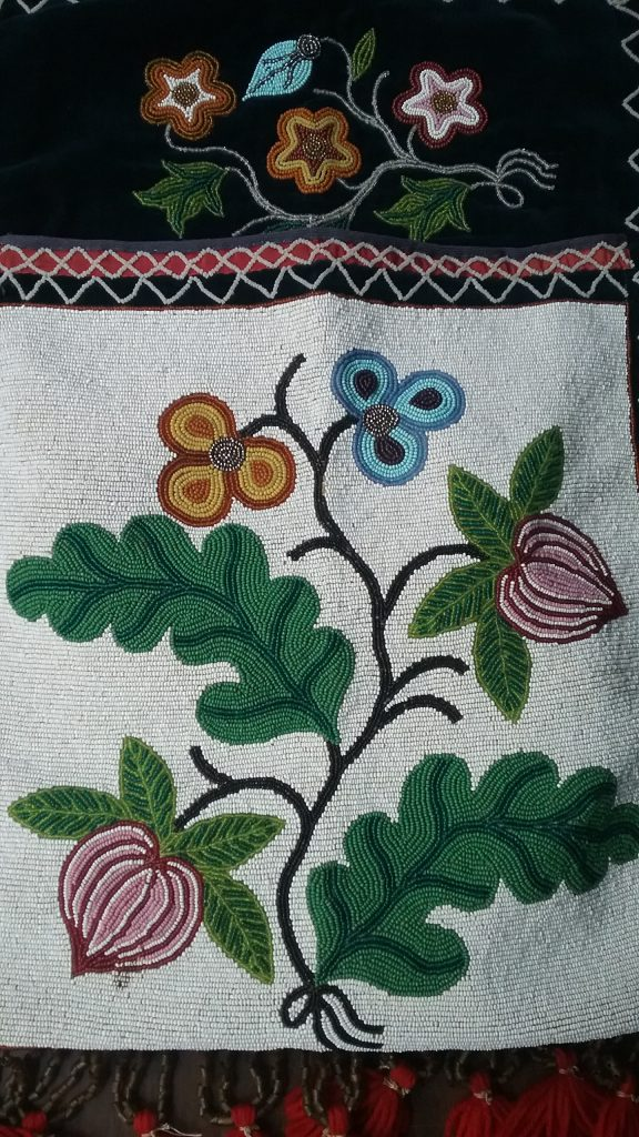 Closeup of pouch of Ojibwe gashkibidaagan owned by Ethel Gourd Hall. MCHS collections, #1954.8.1.