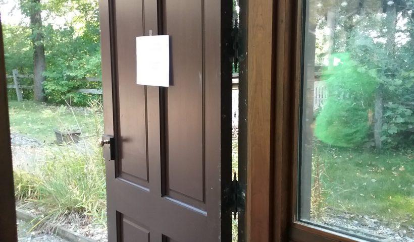 West courtyard door at the Weyerhaeuser Museum, Little Falls, MN, September 12, 2018.