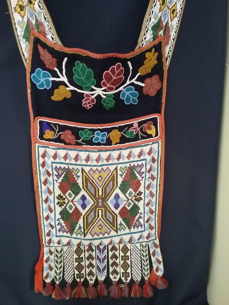 Closeup of Ojibwe gashkibidaagan owned by Nathan Richardson. MCHS collections, #1940.42.1.