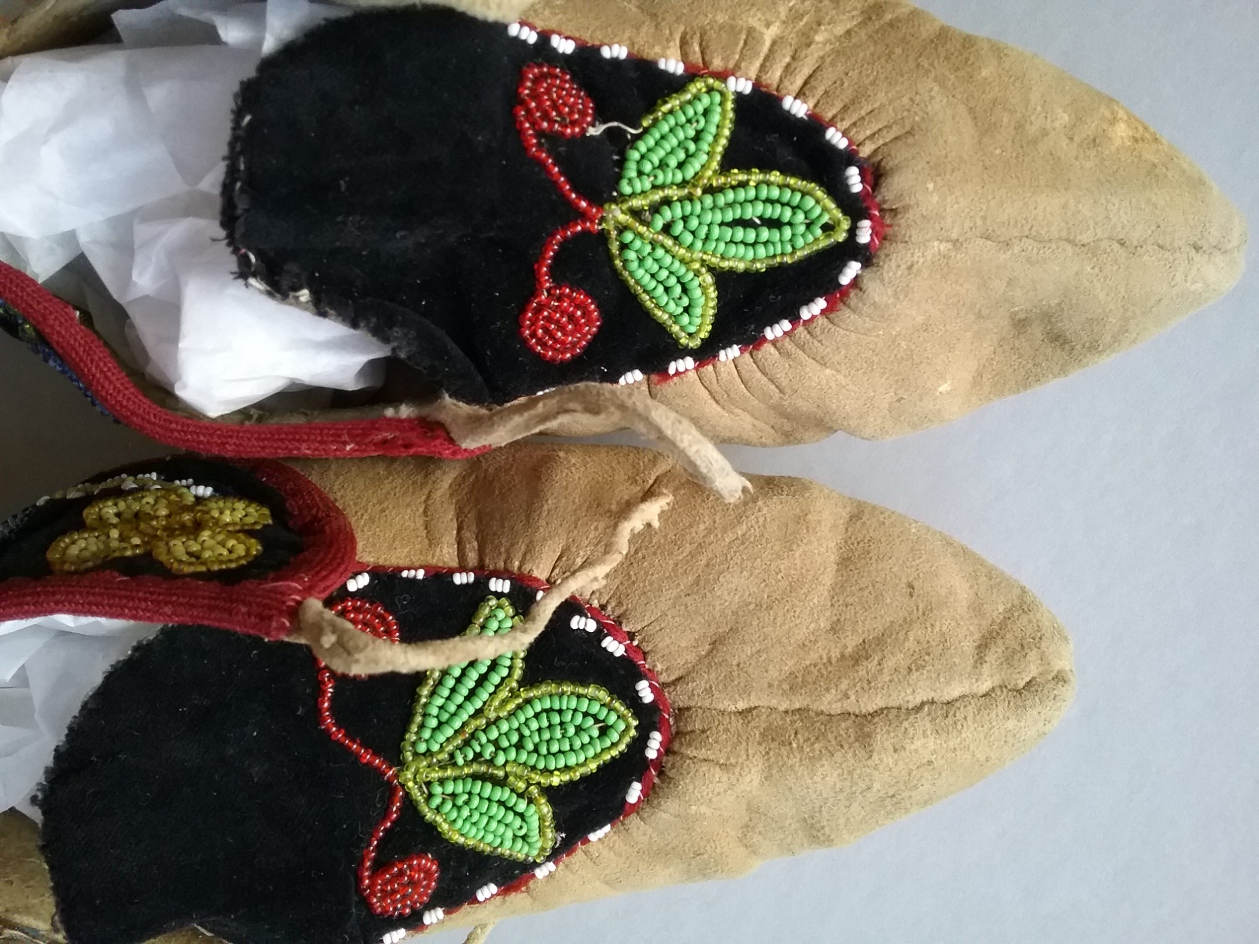 Detail on Ojibwe beaded leather moccasins. MCHS collections, #2005.97.27a&b