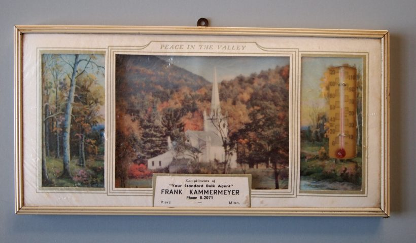 Framed Novelty (front) from Frank Kammermeyer, Bulk Agent, of Pierz, Minnesota, 1959. Morrison County Historical Society collections, #2013.6.2.
