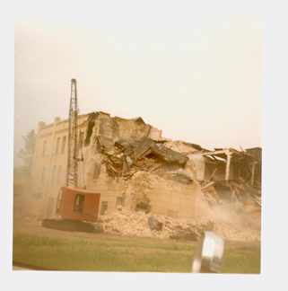 Demolition of Kiewel Brewery in Little Falls, MN. July 1983. Image courtesy Morrison County Historical Society