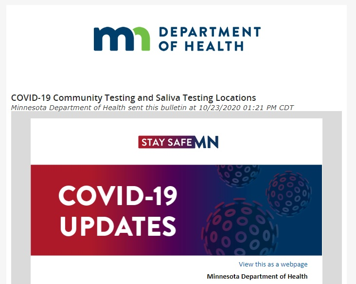 Minnesota Department of Health COVID-19 Updates, October 2020.