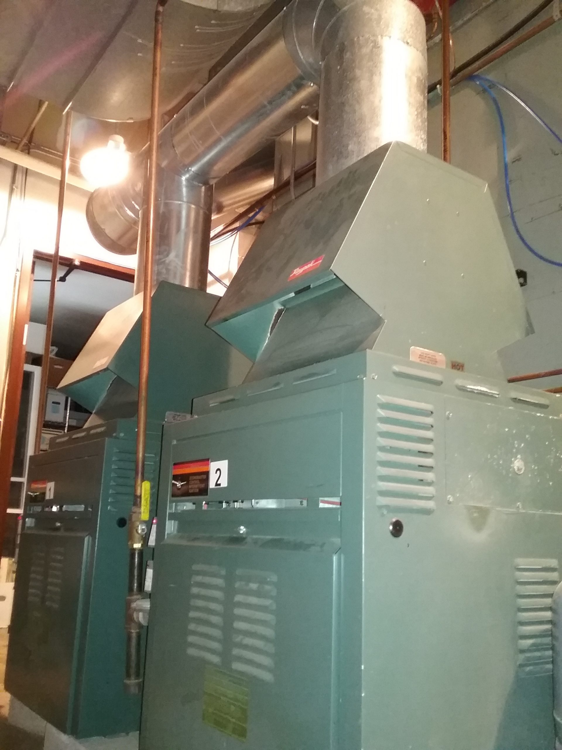 Boilers, part of the Weyerhaeuser Museum's HVAC system, October 2020.