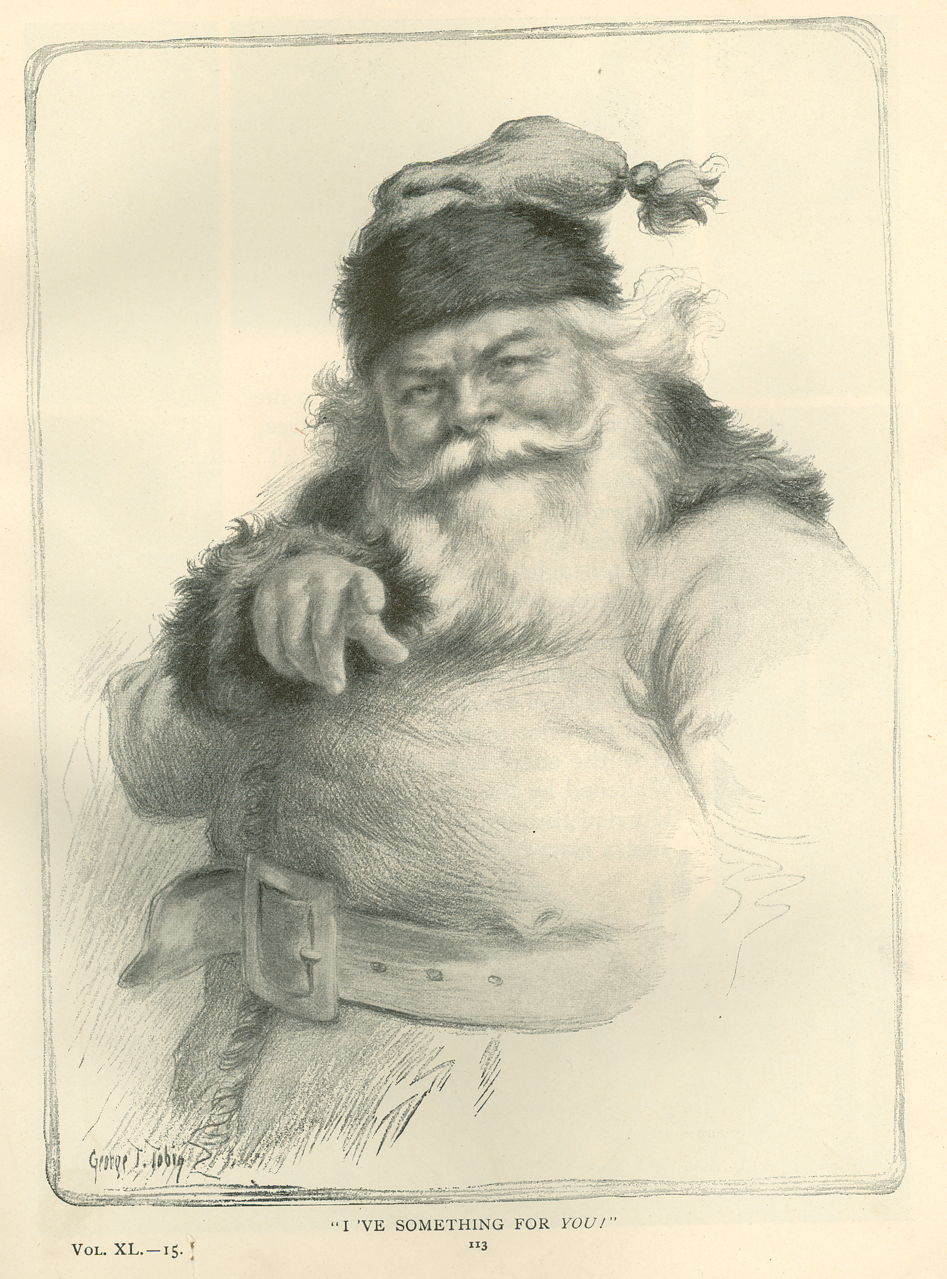 St. Nicholas: An Illustrated Magazine for Young Folks, Vol. 40, Part I, November 1912 to April 1913. Later issues of the magazine featured cover portraits of Santa Claus in the Christmas issues.