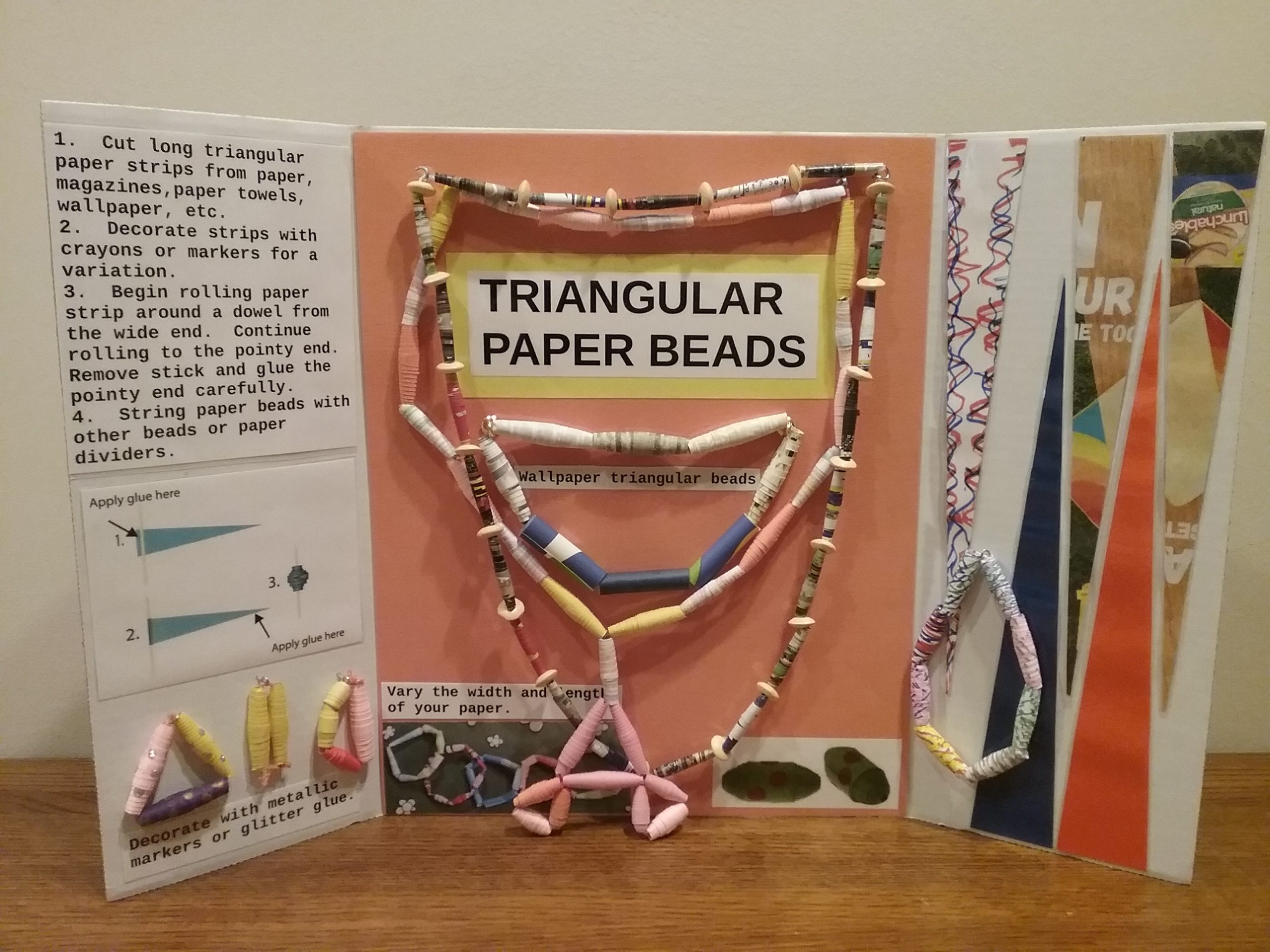 """Bead-making how-to board, """"Triangular Paper Beads,"""" by Kathy Gerdts-Senger, 2020."""