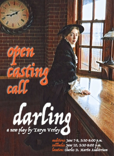 """Little Falls Summer Musical poster for production of """"Darling,"""" Summer 2021."""
