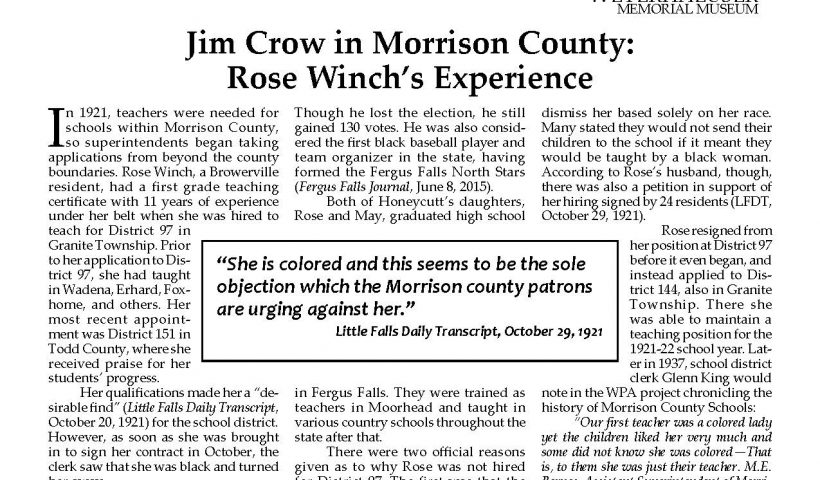 Front page of Morrison County Historical Society newsletter, Vol. 33, No. 3, 2020: Jim Crow in Morrison County: Rose Winch's Experience.